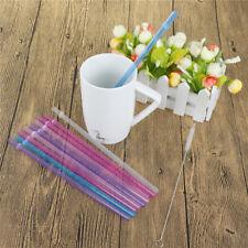 25Pcs Reusable Colorful Hard Plastic Stripe Drinking Straw Clean Wedding Part LA