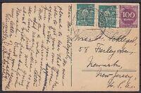 DR Mi Nr. 244, 268 MiF auf AK Mühle Schwarzwald, gel. nach New Jersey USA 1923
