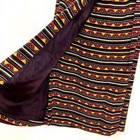 Chaus Womens Maxi Pencil Skirt Rayon Aztec Southwestern Black Red Stripe Size 8