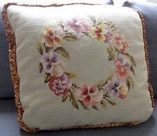 """Cojín grande de tapiz antiguo hecho a mano bordado Bordado pensamientos 22""""x22"""""""