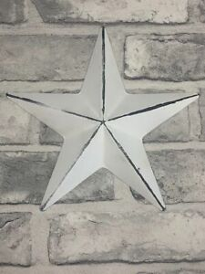 White Metal Barn Star Wall Hanging Decoration
