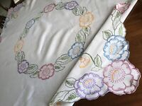 Vintage Hand Embroidered White Linen FLOWERS Tablecloth 49x50 Inches