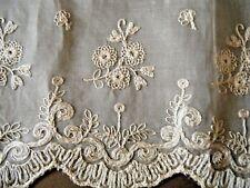 Antique Embroidered of white trim finest silk voile art floral design France