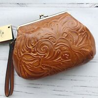 Patricia Nash kiss lock Wristlet Clutch Tooled Leather cognac brown floral New