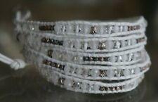 New CHAN LUU White Crystal Semi Precious Stone Sterling Silver 5 Wrap Bracelet