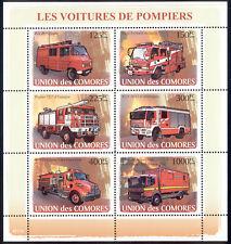 Comoro Islands - 2009 s/s of 6 Fire Trucks #1021 cv $ 12.50 Lot # 29