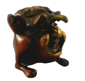 Happy Face Handmade Brass Incense Cone Burner Paperweight Ashtray Ash catcher T5