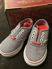 Toddler Girls Vans Trainers Chambray Pink Hearts UK 6 Brand New In Box