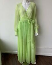 Buru Neon Green Yellow Maxi Dress Size Small Sheer Wrap Styling