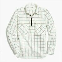 J Crew Womens Flannel Shirt Jacket Size Medium Ivory Navy Green Windowpane Check