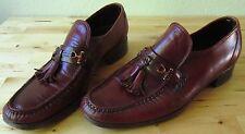 Vintage 70's Men's Florsheim Imperial Tassels Burgundy Slip On Shoes Loafers 7.5