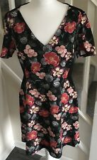 Oasis Size L UK 14 - 16 Lily Floral Print V Neck Bodycon Occasion Dress NWT