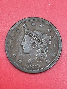 1839 Braided Hair Early US Copper Large US Cent D91