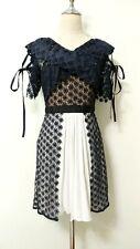 SELF PORTRAIT Cross Front Floral guipure lace mini dress Navy Blue White UK8 US4