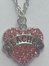 PINK TEACHER FAMILY GIFT CRYSTAL LOVE HEART PENDANT RHINESTONE NECKLACE