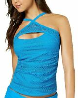 Island Escape Womens Lost At Sea Crochet High-Neck Tankini Top 8 Blue New Ruched