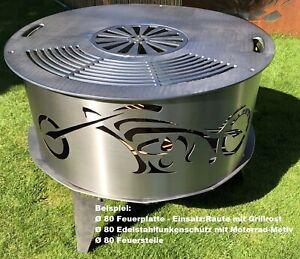 MOTORRAD Feuerschalenaufsatz/Funkenschutz/Feuerschutz für 80cm Feuerschale STAHL