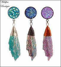 Pair Boho 3 Colours Faux Aura Crystal Cluster Dangle Ear Tunnels Plugs 8-16mm