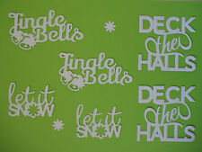 "6 White Tonic Die Cut ""Christmas Sentiments"" Embellishments"