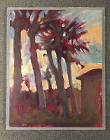 """Florida Palm Dusk"" Original Oil Painting 10""x 8"" Sunset Jensen Beach"