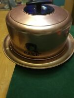 Vintage 1940's West Bend Cake Carrier & Server Copper Aluminum with Locking Tray