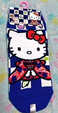 Japan Hello Kitty Kimono Checkered pattern blue & white Ankle Kid's Socks kawaii