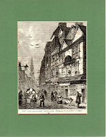 ANTIQUE WOODCUT -  THE OLD COCK AND MAGPIE  -  CASSELL'S OLD & NEW LONDON(1880)