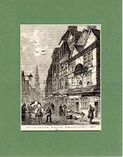 Antigua xilografía-el viejo Grifo y Urraca-Cassell 's Old & New London (1880)