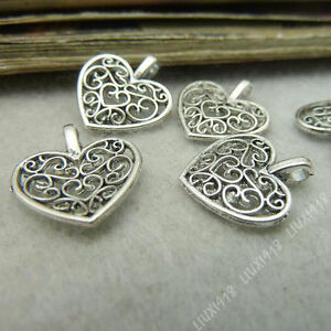 20pc Retro Charms Peach heart Flower Pendant Beads Craft Beading Jewellery S312T
