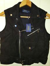 Polo Ralph Lauren Black Suede Moto Vest Jacket Women's: Medium - Small ($999.00)