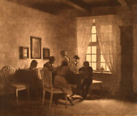 Peter Ilsted (1861-1933) Interior with the artist's family. Ca. 1900.