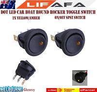 2X DOT LED 12V16A CAR BOAT ROUND ROCKER TOGGLE ON/OFF SPST SWITCH Yellow  LIFAFA