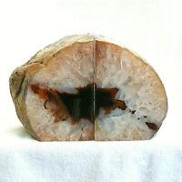 Agate and Quartz Crystal Bookend Set Large Polished Natural Geode 15cm 1921g