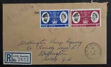 1966 Dominica Registd Royal Visit Airmail FDC ties 2 stamps to UK