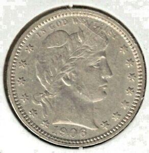 US 1906 O Barber Quarter 25 Cents AU/UNC