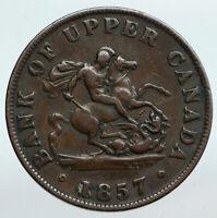 1857 UPPER CANADA Antique UK Queen Victoria HALF PENNY BANK TOKEN Coin i90247