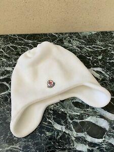 Moncler hat fleece flap hat baby beanie, white.