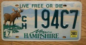 SINGLE NEW HAMPSHIRE LICENSE PLATE - 2003 - CH194C7 - Live Free of Die - MOOSE