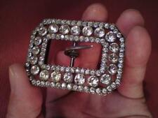 Antique 1920s French Paste Rhinestone Faux Diamond Belt Buckle Made In France