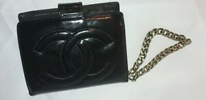 Authentic Chanel CC Logo Quilted Hand Wallet Coin Bag Wristlet Purse Clutch 639
