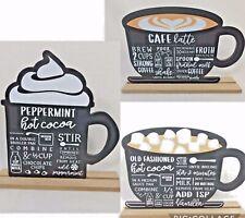 Coffee Bar Sign Latte Cocoa Mug shape hot choc peppermint 2 sides chalkboard