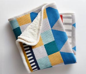 NEW Pottery Barn Kids West Elm Geometric Stroller Baby Blanket Abstract Fleece