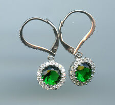 925 SILVER 1.25 CT 7MM CREATED EMERALD & CZ SOLITAIRE HALO LEVERBACK EARRINGS