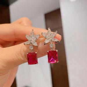 4.50Ct Emerald Cut Red Ruby Diamond Drop & Dangle Earrings 14K White Gold Finish