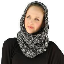 Winter Unisex Long Pullover Knit Single Loop Tube Infinity Hood Cowl Scarf Black
