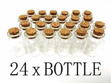24 1.5 Inch Mini Glass Bottles Cork Tops Message Weddings Wish Jewelry Party