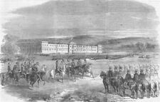 ROMANIA. Review of Austrian Troops, Bucharest, antique print, 1856