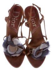 Dior Brown Sandals Blue Silk Flower Detail Shoes Heels 6.5 RSVP $595
