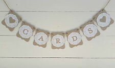 CARDS wedding-engagement banner w/doilies -bunting flags Wishing well sign