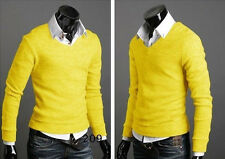Men Casual Loose Fit V-neck Pullover Sweatshirt Sweater T-Shirt Jumper Tops Tee